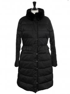 Manteau doudoune mi-long en duvet et col fourrure noir Prix boutique 800€ Taille 40
