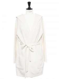 Hooded and belted cream white cashmere and wool cardigan Retail price €550 Size M to L