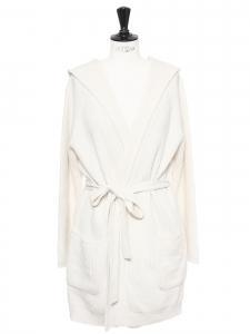 Veste gilet ceinturé à capuche en cachemire et laine blanc crème Prix boutique 550€ Taille M à L