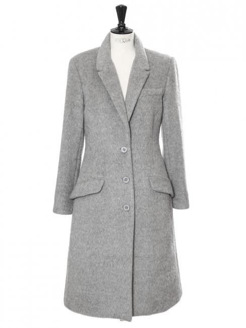 Manteau long cintré en alpaga et laine gris clair Prix boutique 2550€ Taille 38/40