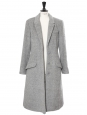 Manteau long cintré en alpaga et laine gris clair Prix boutique 2550€ Taille 40