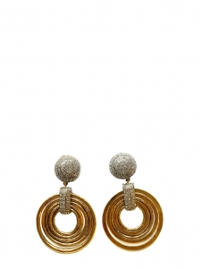 Gold and silver circles clip earrings