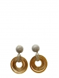 Gold circles and silver crystals clip earrings Retail price $800