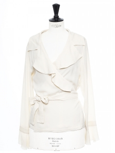 Ivory white silk belted lightweight jacket Retail price €850 Size 38