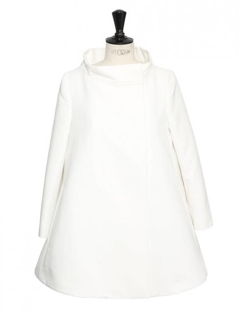 Veste manteau de printemps court en soie blanc écru Px boutique 1100€ Taille 36