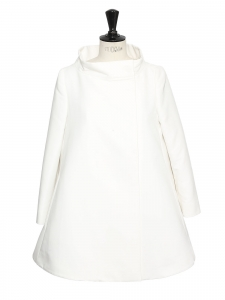 White silk sixties style long sleeves spring coat Retail price €1100 Size 36