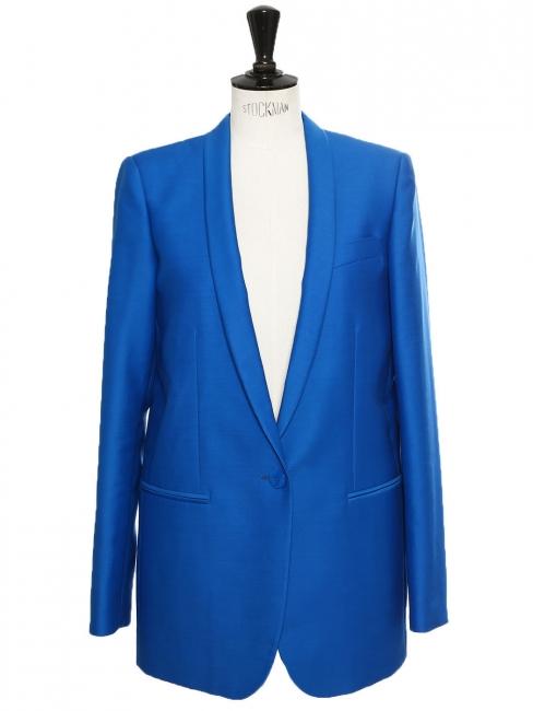 Veste blazer ELLIOT classique en laine et soie bleu roi Px boutique $1095 Taille 36/38