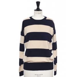 Pull col rond en laine vierge et cachemire rayé beige et bleu nuit Prix boutique 600€ Taille S