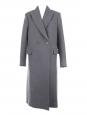Manteau long double boutonnière en laine gris foncé Prix boutique 1200€ Taille 36/38