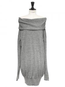 Robe en maille de laine et cachemire gris chiné Prix boutique 700€ Taille 36