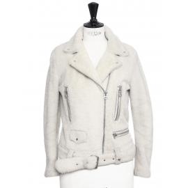 MOCK FELTED beige white mock felted shearling jacket Retail price €1900 Size 34