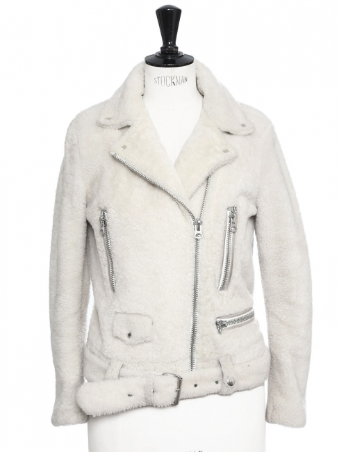 Veste biker shearling jacket MOCK FELTED blanc ivoire Prix boutique 1900€ Taille 34