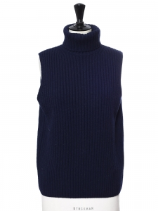 Sleeveless turtleneck navy blue ribbed knit wool sweater Retail price €450