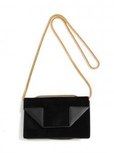 Sac BETTY en cuir et suede noir chaîne dorée Prix boutique 1400€