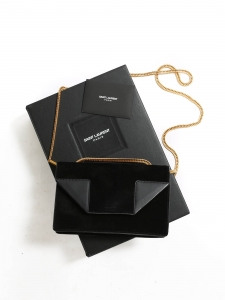 Black leather and suede BETTY bag with gold chain Retail price €1400