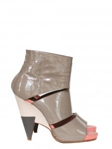 Poseidon boots / heel sandals in grey patent leather and pink leather Size 37