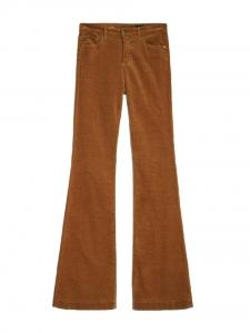 Pantalon THE JANIS taille haute slim fit évasé en velours marron camel Prix boutique $210 Taille 27 (Small)