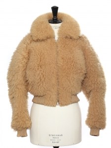 LINNE TEDDY BEAR Camel brown shearling jacket Retail price $3414 Size 36