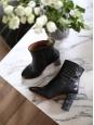 Bottines en cuir noir à talon effet marbre gris noir Prix boutique 430€ Taille 40