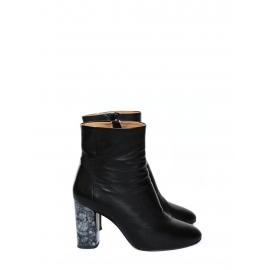 Bottines en cuir noir à talon effet marbre gris noir Prix boutique 430€ Taille 38