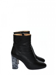 Marble effect heel black leather ankle boots Retail price €430 Size 40