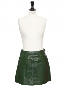 CABANA green patent leather high waist A-line mini skirt Retail price €400 Size S