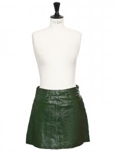 Jupe CABANA taille haute trapèze en cuir verni vert Prix boutique 400€ Taille S