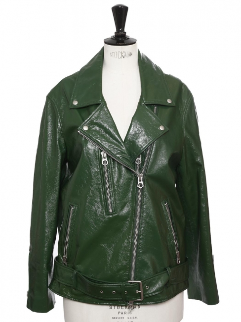 Green patent leather CABANA biker jacket Retail price €800 Size S to M