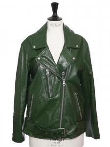 Veste blouson CABANA BIKER en cuir verni vert Prix boutique 800€ Taille S à M