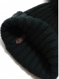 GIUVI Bonnet en laine vert foncé et pompon fourrure