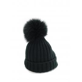 Bonnet en laine vert foncé et pompon fourrure Prix boutique 275€