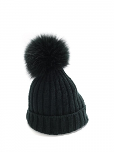 GIUVI dark green ribbed wool hat with fur pompon