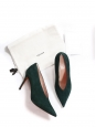 Dark green suede leather essential V neck pointy toe pumps Retail price $600 Size 36.5