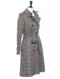 Manteau trench en laine imprimé carreaux vert, noir et prune Prix boutique 2500€ Taille 34 à 36