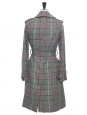 Green, prune and black plaid print wool trench coat Retail price €2500 Size UK 4