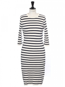 Naby blue and cream white knitted midi dress Retail price €250 Size S