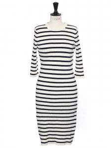 Robe longue col rond en maille rayé bleu marine et blanc Prix boutique 250€ Taille S