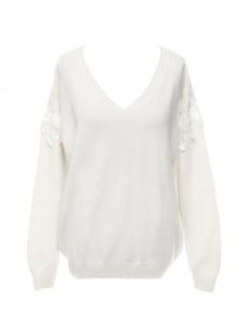 Pull col V en laine et cachemire blanc crème manches dentelle cerise Prix boutique 690€ Taille XS à S