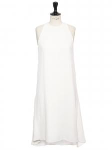 Robe mi-longue sans manches col rond en crêpe blanc Prix boutique 1100€ Taille 38