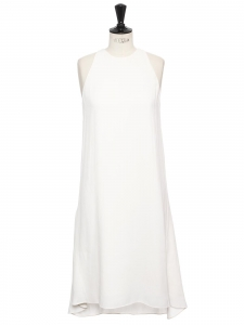 White crepe round neck sleeveless midi dress Retail price €1100 Size 38