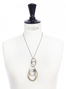 Gold brass thin chain necklace with rings and almond green beads pendant