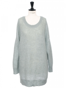 Oversized very long almond green knitted open back sweater