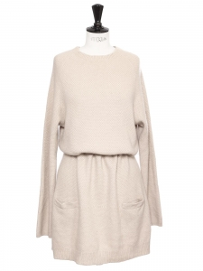Long sleeves beige pink thick luxury cashmere Retail price €1100 Size 40
