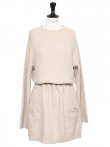 Robe manches longues en cachemire épais beige rosé Prix boutique 1100€ Taille 40