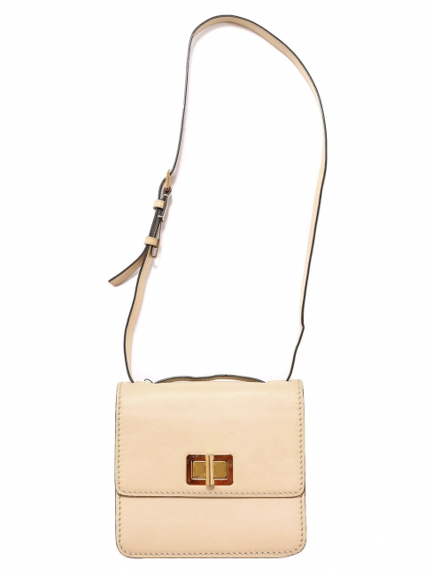 Beige pink leather cross body LOUISE bag with gold lock Retail price €1450