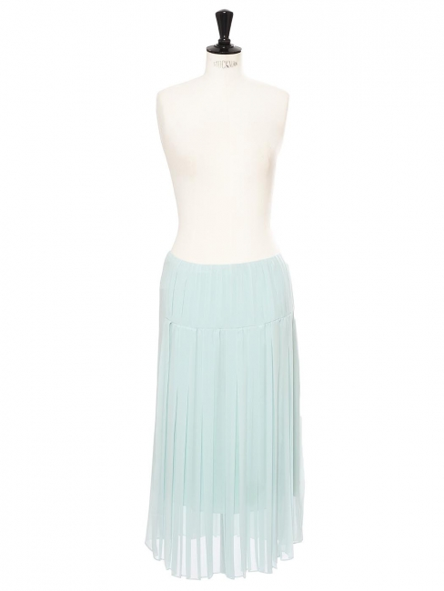 Mid-length low waist light blue pleated skirt Retail price €285 Size 38
