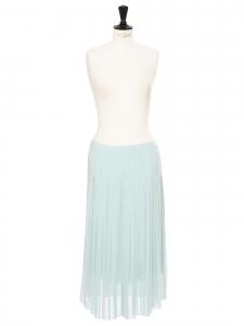 Jupe taille basse mi-longue plissée bleu clair Prix boutique 285€ Taille 38