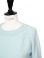 Light blue cashmere wool round neck sweater Retail price €890 Size S