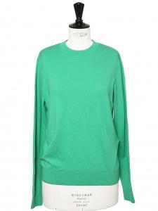 Pull THIERRY en coton cachemire vert pomme col rond Prix boutique $150 Taille S
