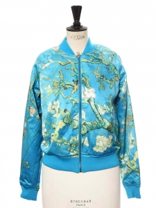 VINCENT VAN GOGH Almond blossom green and turquoise blue satin bombers jacket Retail price €130 Size S